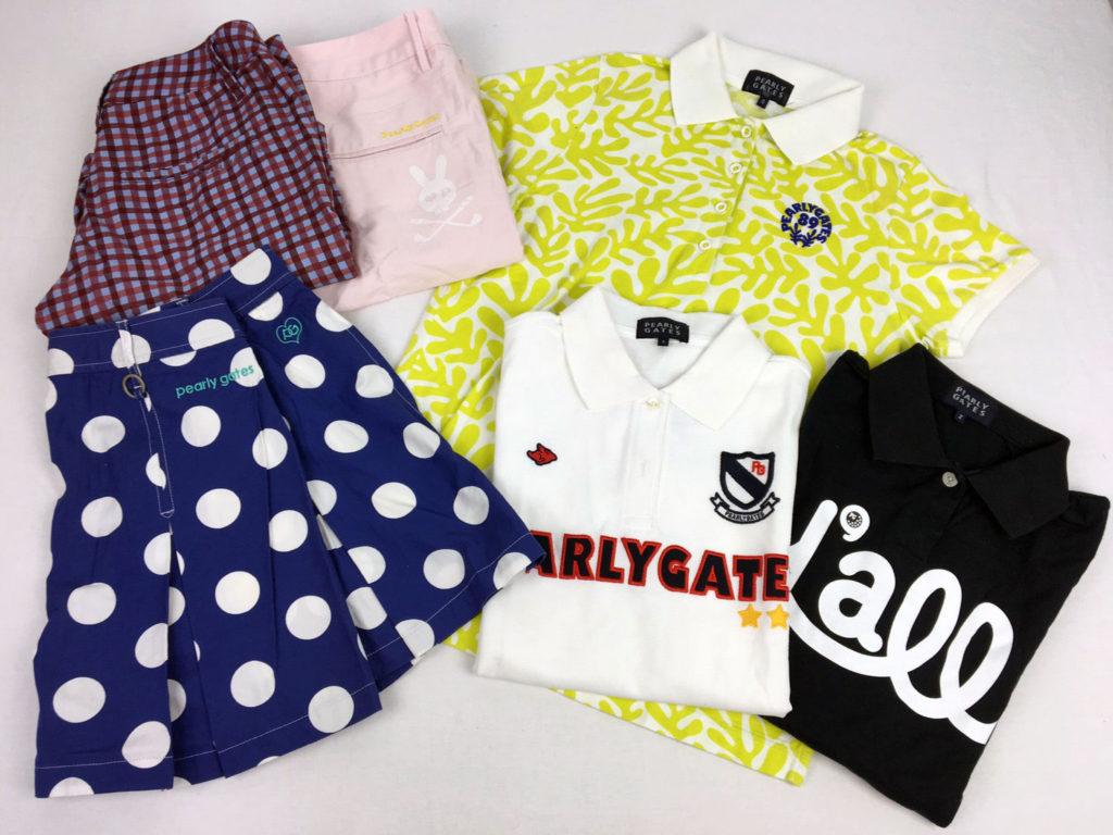 パーリーゲイツのポロシャツと水玉のスカートとパンツです。サイコバニーのパンツもあります