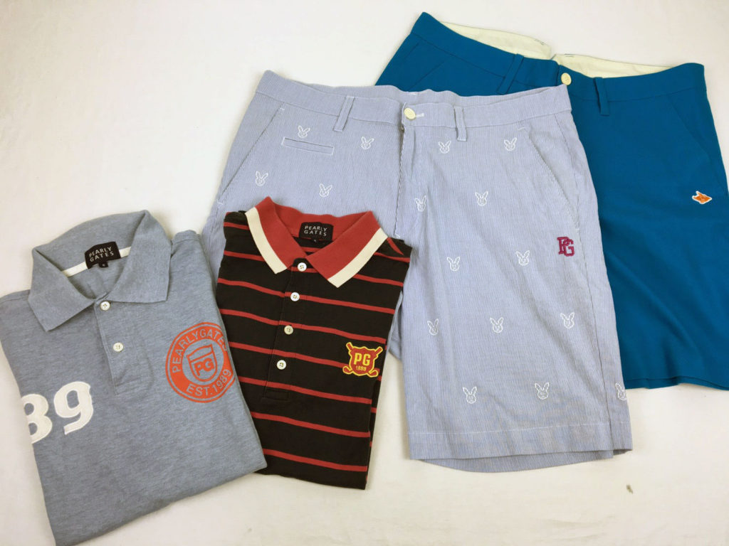 パーリーゲイツのメンズゴルフウェア。ポロシャツとハーヅパンツとショートパンツ