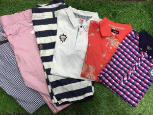 メンズゴルフウェアの商品入荷ブログで、マンシング、マスターバニーなどの半袖ポロシャツや、ハーフパンツは、太目のボーダーやチェック地などのものがあります。