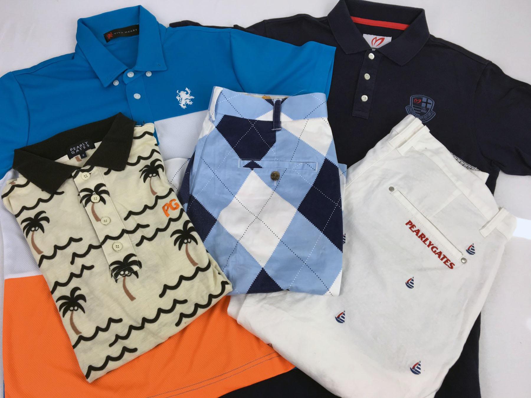 パーリーゲイツ、ビバハート、マスターバニー、ラウンドマウスのメンズゴルフウェア。半袖ポロシャツとハーフパンツなど