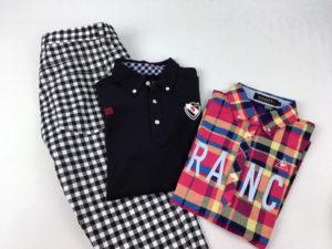 ダンスウィズドラゴンのギンガムチェック柄パンツやパーリーゲイツ、ルコックのメンズシャツです